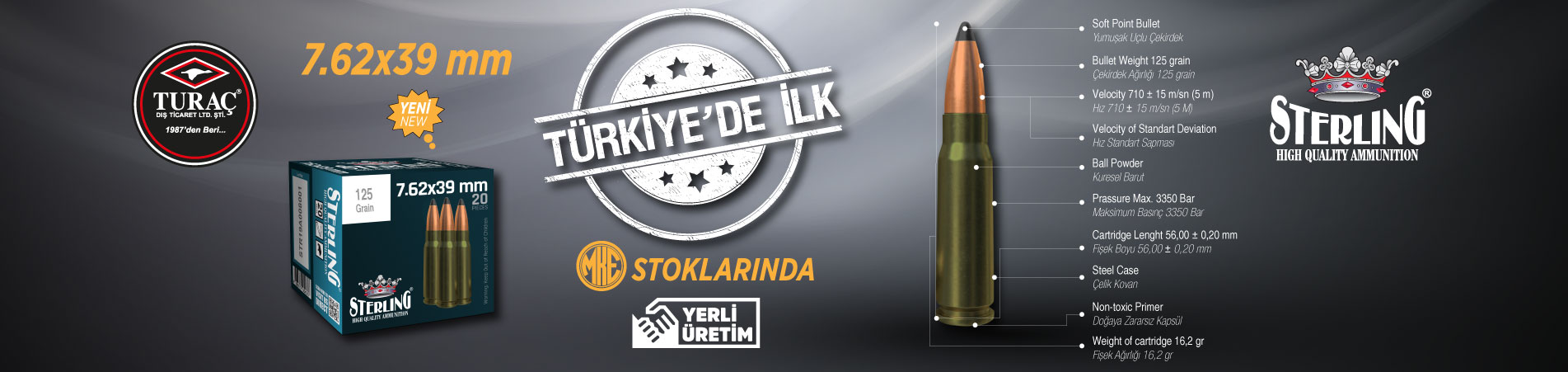Local Production 7.62x39 mm Cartridge of Turaç in MKEK Stocks