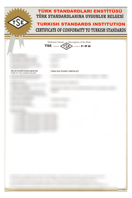 TSE Certificate of Conformity to Turkish Standards